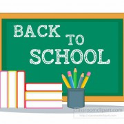 School Chalkboard And Books Back To School Clipart