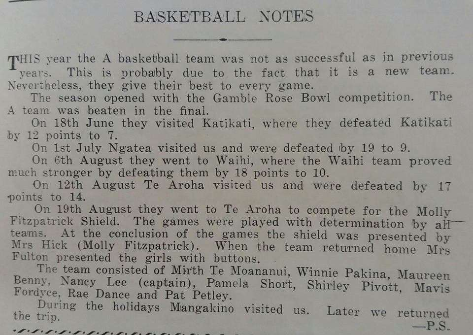 1953  Basketball 'a' Writeup