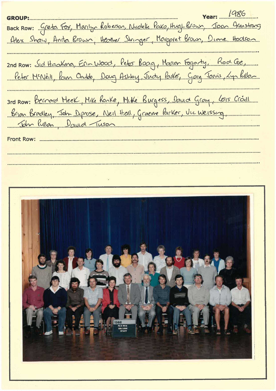 1986 Staff