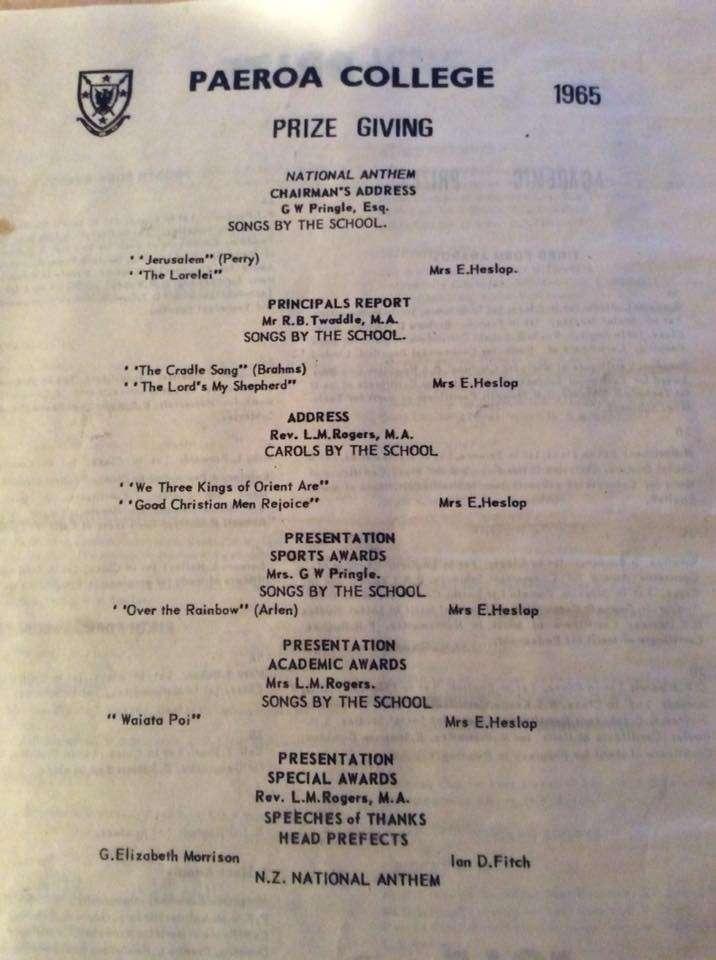 1965 Prizegiving Programme